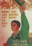 Vietnam Propaganda Poster, Two hang up the road construction and national defence Vietnam